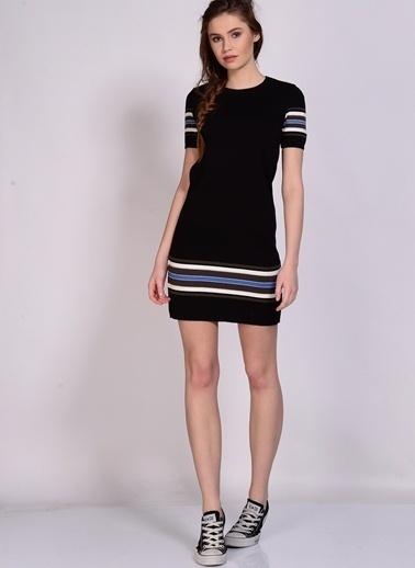 Black Pepper Kısa Kollu Mini Elbise Siyah